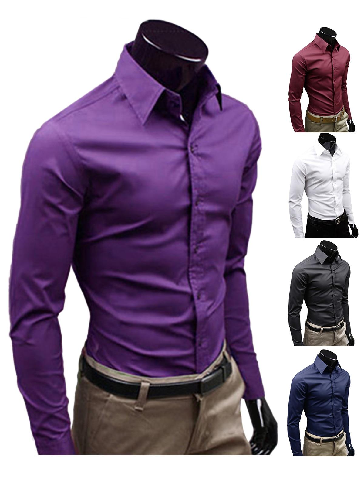 Mens con estilo camisas formales del vestido Color sólido