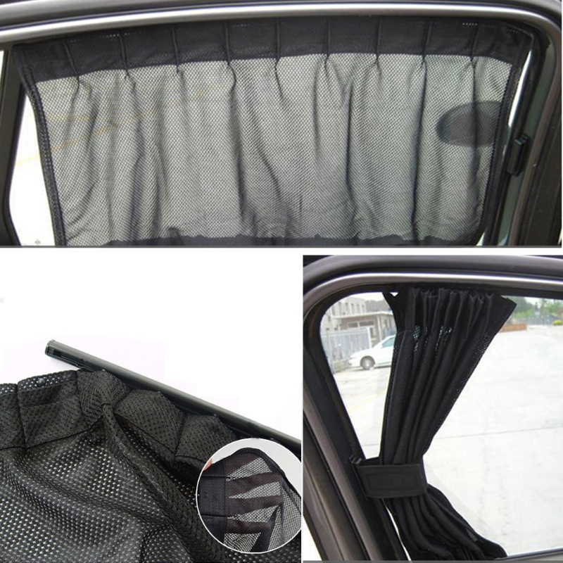 Image 5 - Universal Black Mesh Interlock VIP Car Window Curtain Sunshade Visor UV Block-in Side Window Sunshades from Automobiles & Motorcycles