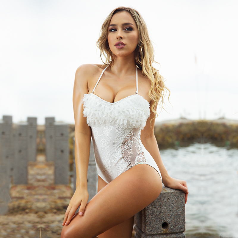 White Lace Swimwear Women Halter Bodysuit Straps Swimsuit One Piece Suits Vintage Monokini Swimming Suit For Woman