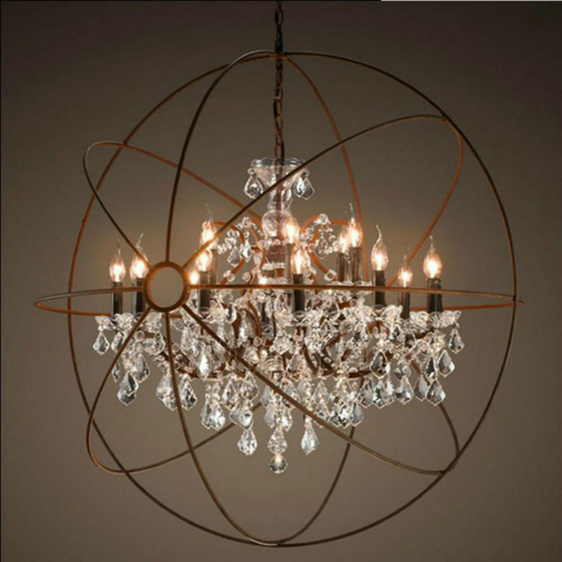 Vintage Orbital K9 Křišťálový lustr Lampa DIY Americká domácka Deco Obývací pokoj Retro Rust Železo luxusní Lustrové svítidlo