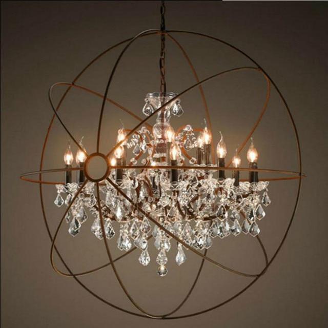 Vintage Orbital K9 Crystal Chandelier Lamp Diy American Home Deco Living Room Retro Rust Iron Luxury