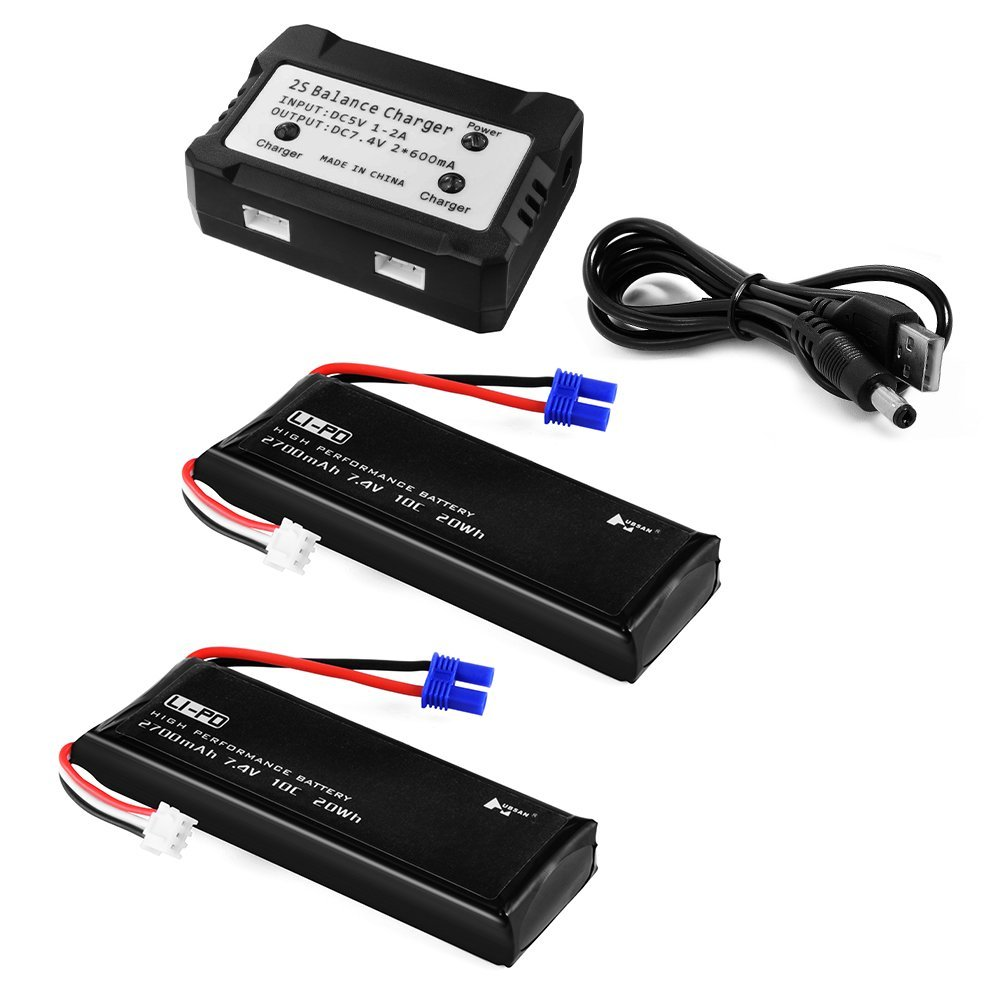 EBOYU(TM) 2pcs 7.4V 2700mAh 10C Lipo Battery + 2 In 1 Battery Balance Charger for Hubsan H501S Quadcopter Drone lipo battery 7 4v 2700mah 10c 5pcs batteies with cable for charger hubsan h501s h501c x4 rc quadcopter airplane drone spare