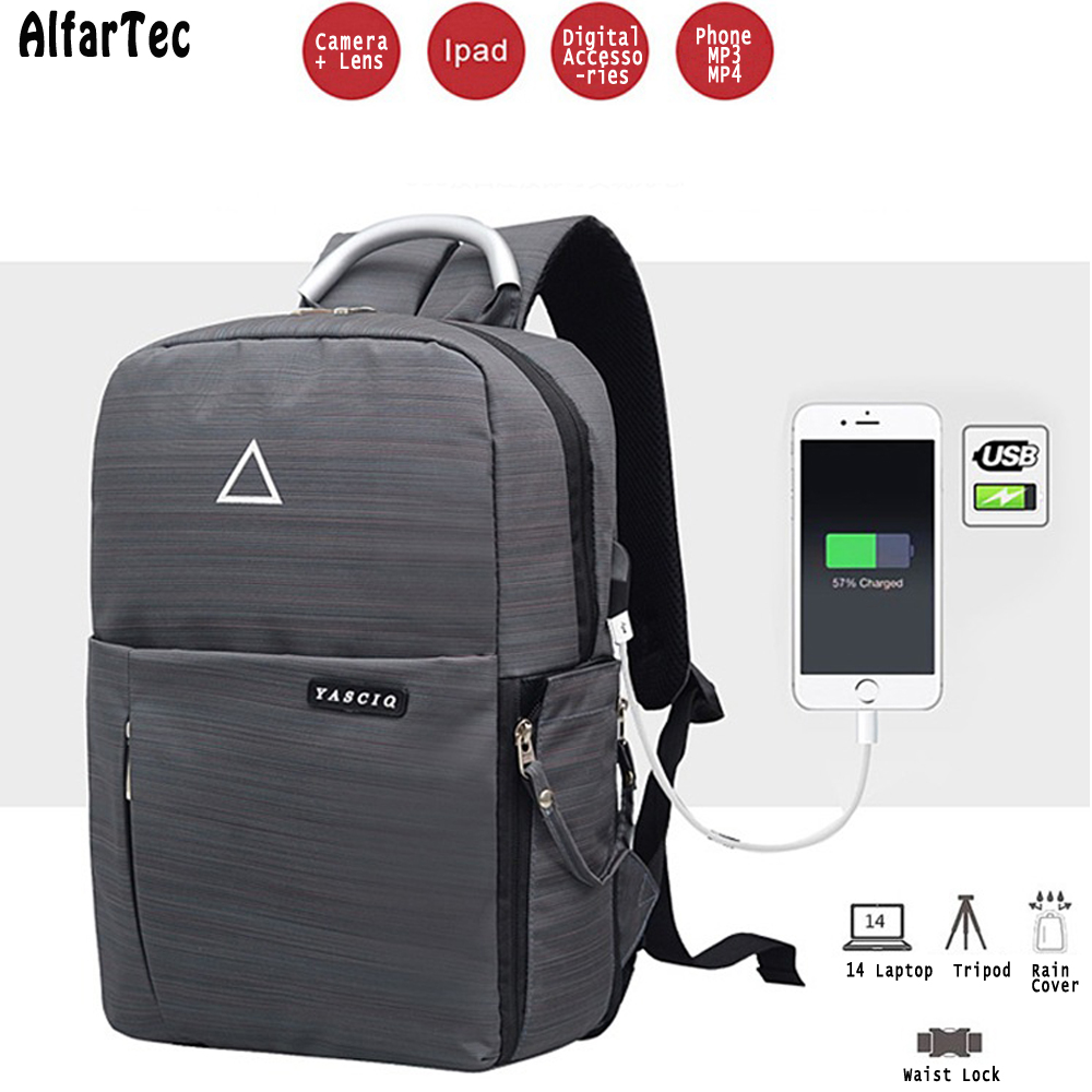 DSLR Video Camera Bag Digital Backpack For The Camera USB Charge Waterproof  Tipod Backpack Photo Bag Travel Bag With Rain Cover 65c314ad8b25b