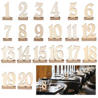 20pcs/set Hot style Wooden Wedding Supplies Place Holder Table Number 1 20 Figure Card Digital Seat Decoration for Wedding Party