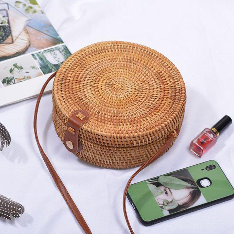Vietnam Hand Woven Bag Round Rattan Straw Bags Bohemia Style Beach Circle Bag 2019 Popular LB965 Сумка