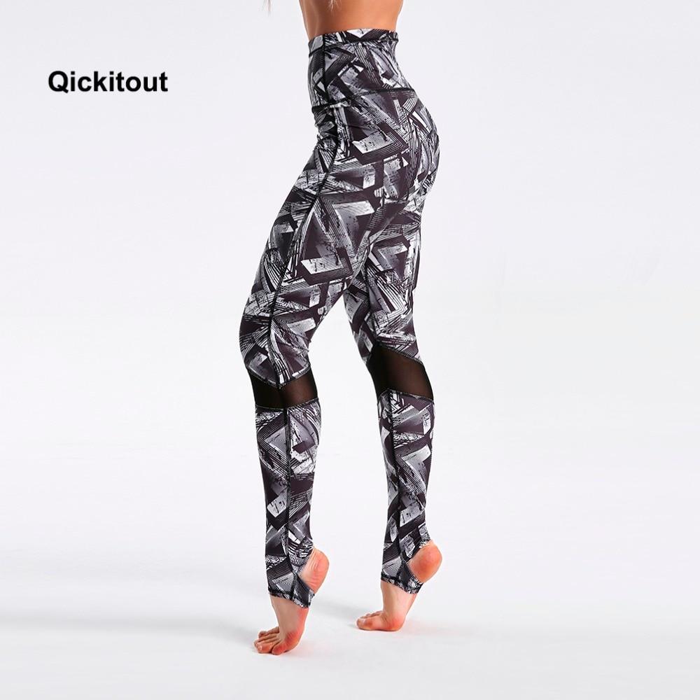 Women Stirrup Leggings Printed Mesh Patchwork Fitness Pants Hot Summer Long Leggings Dancing Workout 2018 Sexy Pants