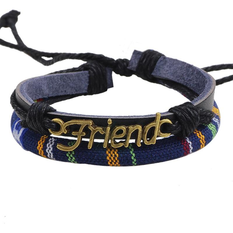 ER 2016 New Handmade Genuine Leather Best Friend Bracelet Women Cheap Vintage Fashion Bohemian Jewelry Pulceras Men LB124