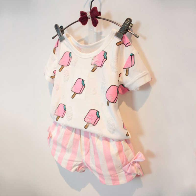 Trẻ em Gái Quần Áo Thiết Lập Mùa Hè Trẻ Em Gái Quần Áo Dễ Thương Ice Cream lỗ T-Shirt Sọc + Bow Ngắn Phù Hợp Với 2 cái Quần Áo Hot Bán
