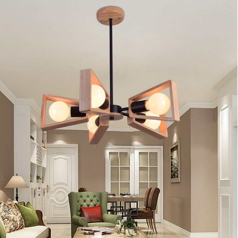 LukLoy Modern Pendant Lamp Lights Kitchen Island Dining Living Room Decoration Low Ceiling Branch Wood Lighting