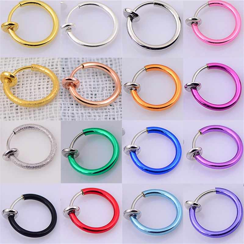 1 ชิ้นขายใหม่แฟชั่นแหวนจมูกปลอม Goth Punk Lip หูคลิปจมูกปลอม Septum แหวนจมูก hoop Lip Hoop แหวนต่างหู