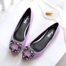 Chaussures pour femmes grandes tailles 34 ~ 45 cristal strass chaussures plates bateau femmes rose violet Ballet mocassins en cuir véritable chaussures plates femme