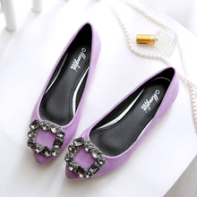 Zapatos planos con cristales y diamantes de imitación para mujer, mocasines de Ballet de piel auténtica, color rosa y morado, tallas grandes, 34 a 45