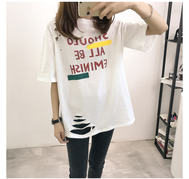 XL- 4XL 2019 new plus size summer loose High Street hole Letter print short sleeve O-Neck women T-shirt top tee TY5 16