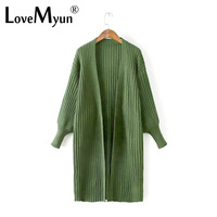 2017 Autumn New Pattern Fashion Long Fund Cardigan Easy Lantern Sleeve Solid Color Stripe Knitting Sweater