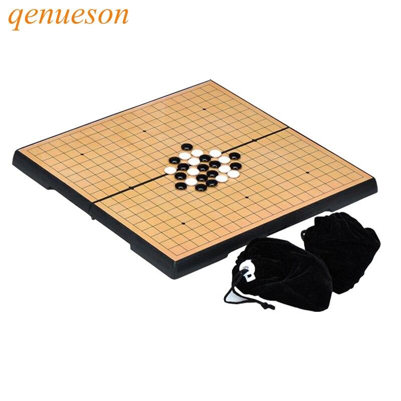 Nouveau chaud haute qualité pliable pratique jeu d'échecs de Go jeu de société magnétique WeiQi Baduk ensemble complet 32x32 cm taille en plastique qenueson