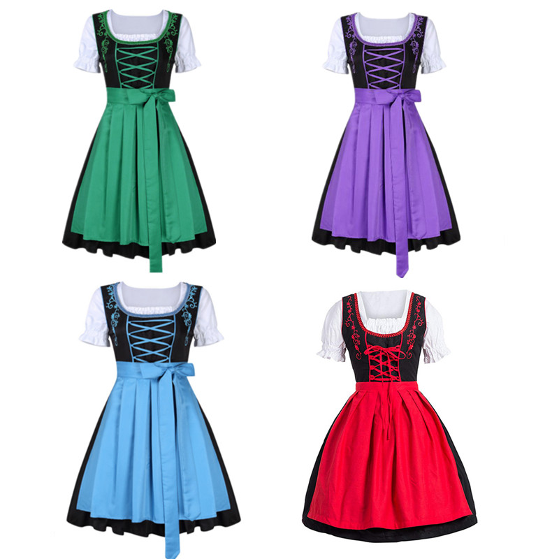 Plus Size Female German Oktoberfest Dirndl Dress Octoberfest Bavarian Beer Maid Costume