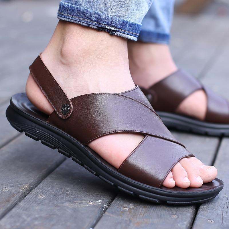 2019 Summer Men Sandals Genuine Leather Summer Shoes Men Beach Sandals Flat Cow Leather Male Black Sandal KA1094