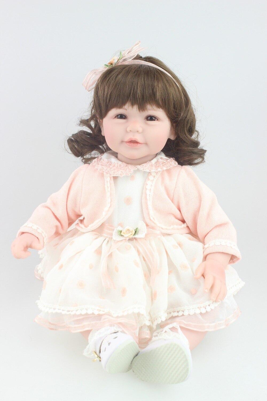 ФОТО Reborn toddler girl doll 50cm , 20inch sweet cute  baby doll Birthday Gift Toys for Girls