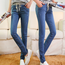 horny girls's denims Spring huge yards pants Blue stretch trousers denims elastic waist Cotton Straight denims Women tight denims 5XL