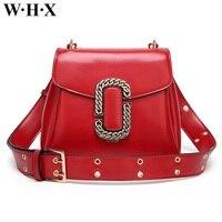 WHX Fashion Belt Buckle Red Women Bag CrossBody Shoulder Bag Women's Handbag Female Leather Messenger Bags Pu Purse Lady Girls