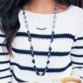 Vestido Largo Collar de cadena de La Joyería Femenina Azul Geométrico Blanco Piedra Unique Chic Collar Del Cuello del Collar Para El Regalo