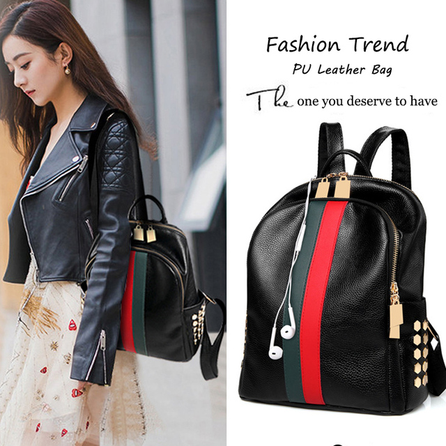 Luxury Famous Brand Designer Women PU Leather Backpack Female Casual Shoulders Bag Teenager School Bag Fashion Women's Bags 5