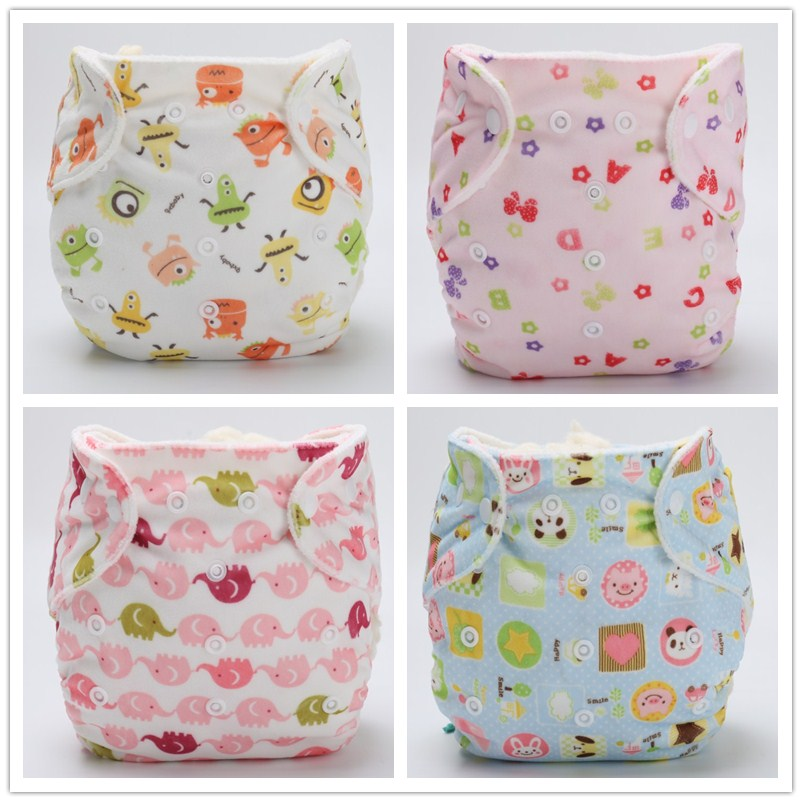 4pcs/lot Washable  Cloth Diaper Cover Waterproof Cartoon Baby Diapers Reusable Cloth Nappy Suit 3-13kg
