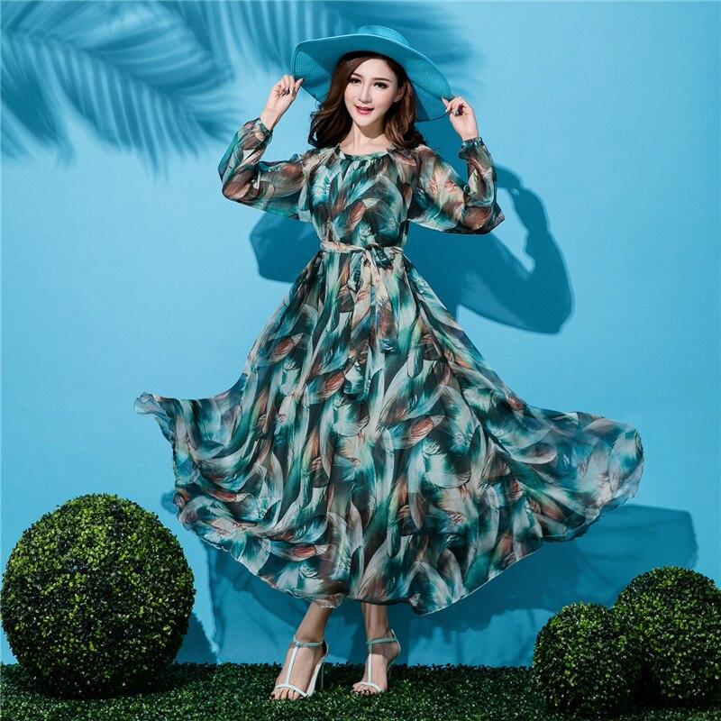 Summer women s 2019 beach dress flowy chiffon one piece dress elegant full print dress plus