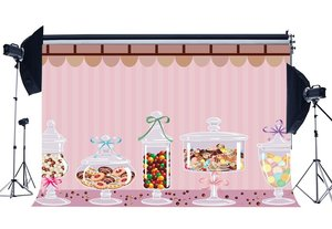 Image 1 - Sweet Candy Backdrop Multicolor Lollipops Backdrops Pink Stripes Wallpaper Photography Background