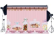 Tatlı Şeker Zemin Renkli Lolipop Arka Planında Pembe Çizgili Duvar Kağıdı Fotoğraf Arka Plan
