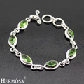 HERMOSA Jewelry Exquisite charm 925 sterling silver leaf shape lovely charming bracelet 7.5'' HF228