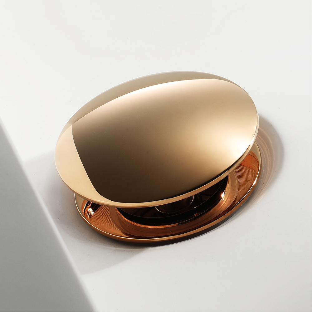 HIDEEP Pop Up Drain Brass Rose Gold With Overflow Basin Waste
