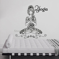 Yoga Pose Meditate Girls Wall Stickers Vinyl Art Decals Bedroom Decoration Removable Adhesive