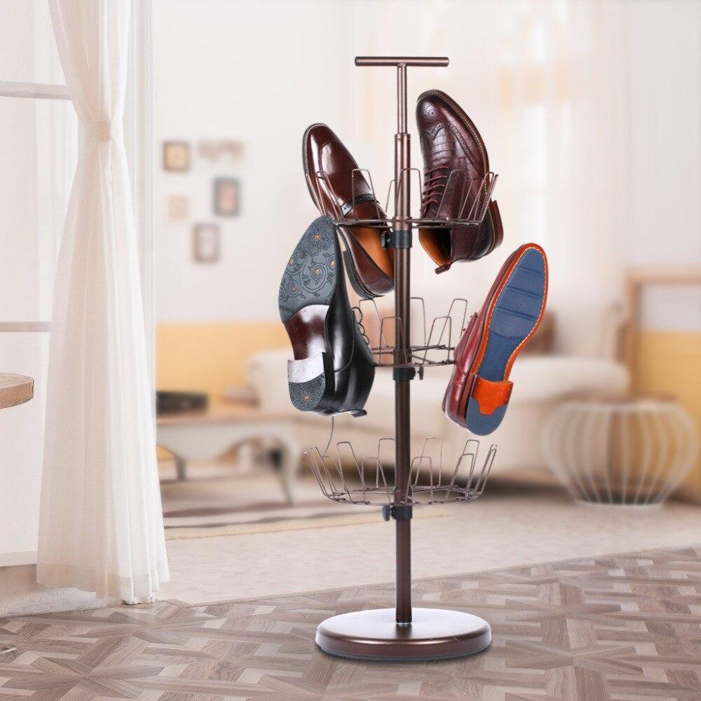 langria 3tier 360 rotating shoe organizer rack shoe tree holds 18 pairs bronze metal shoe storage rack for home and kids