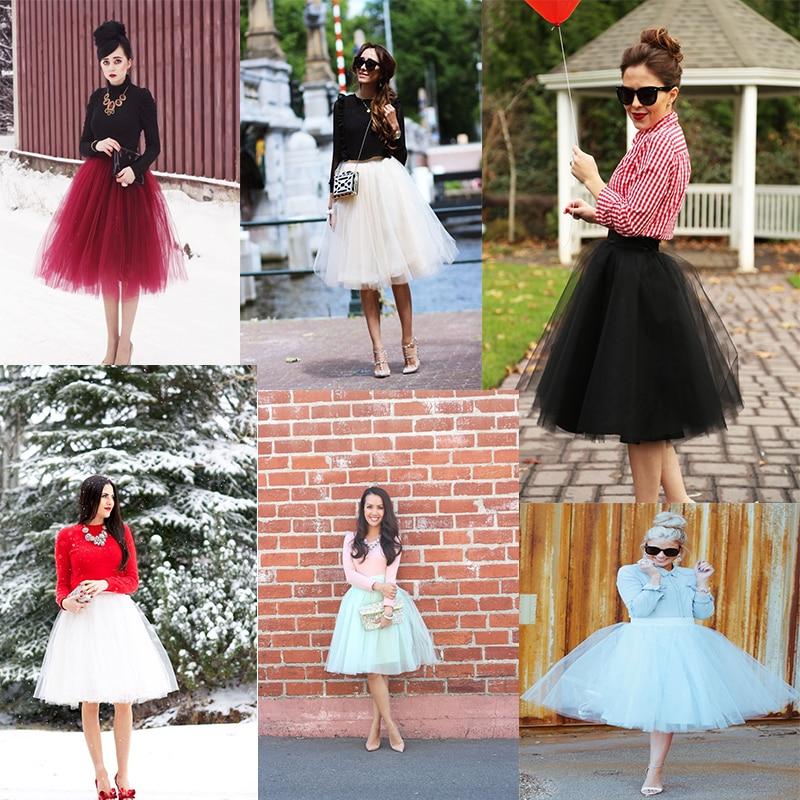 5 Katmanlar 60 cm Prenses Midi Tül Etek Pileli Dans Tutu Etekler - Bayan Giyimi - Fotoğraf 5