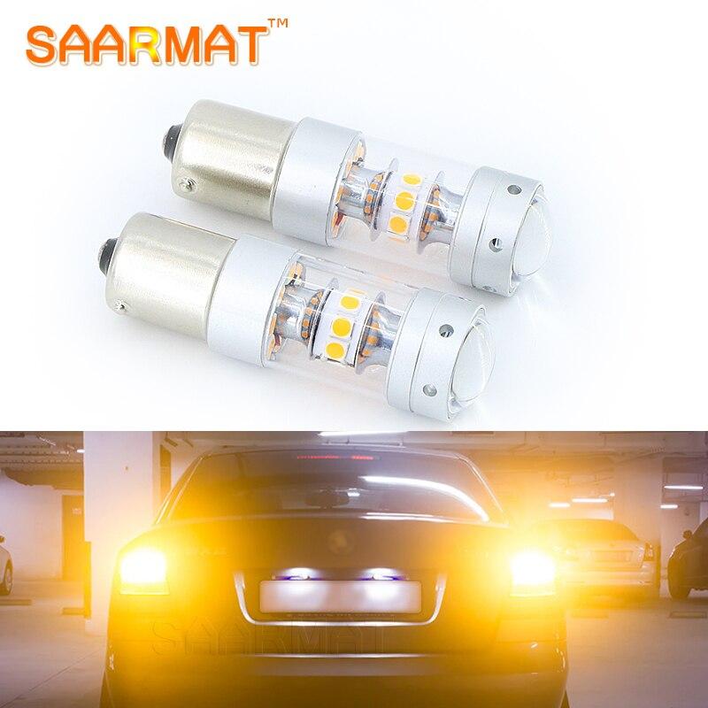 2шт 140 Вт Янтарный желтый BAU15S 7507 PY21W 1156PY 12V светодиодные лампы лампы ж/ отражатель зеркало дизайн для передней автомобиля сигнала поворота света