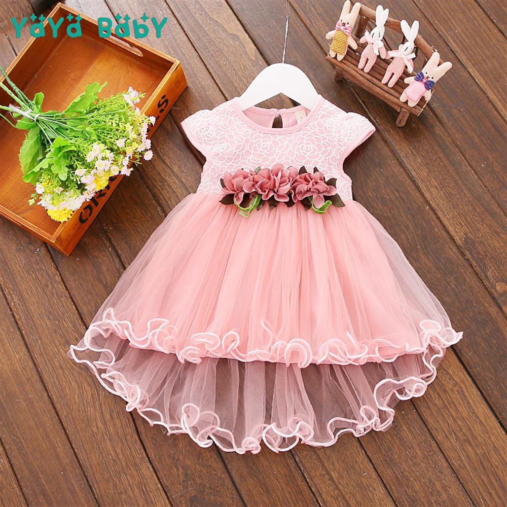 Flower Newborn Baby Dress 2018 New Summer Cute Baby Girls Clothes Mesh Solid Infant Princess Clothing 1 Year Birthday Dress