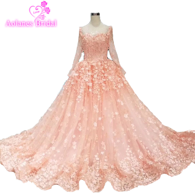 Amazing Tulle Formal High Quality Beautifull Long   Prom     Dresses   With Pearls 3d Pink Flowers 2019 Sheer Long Sleeves Party Gowns