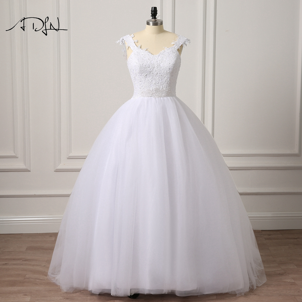 Simple Wedding Dresses Plus Size: ADLN Real Pictures Ball Gown Bridal Dress Simple Plus Size