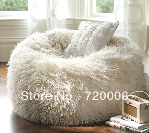 87b74b84c8 Free shipping NEW!!! Extra soft WHITE faux fur large lounge beanbag ...