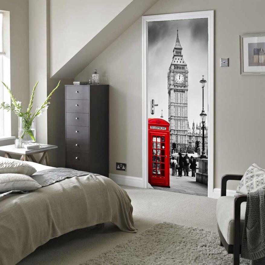 2018 The Big Ben 3d Pvc Self-adhesive Wallpaper Waterproof Door Stickers A2 Home Decor