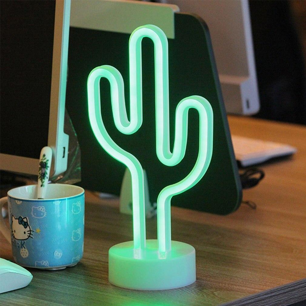 все цены на LED Neon Night Light Flamingo Lightning Cactus Festival Party Night Wedding Holiday Decoration Home Decor Lamp Latex Lamp Tube