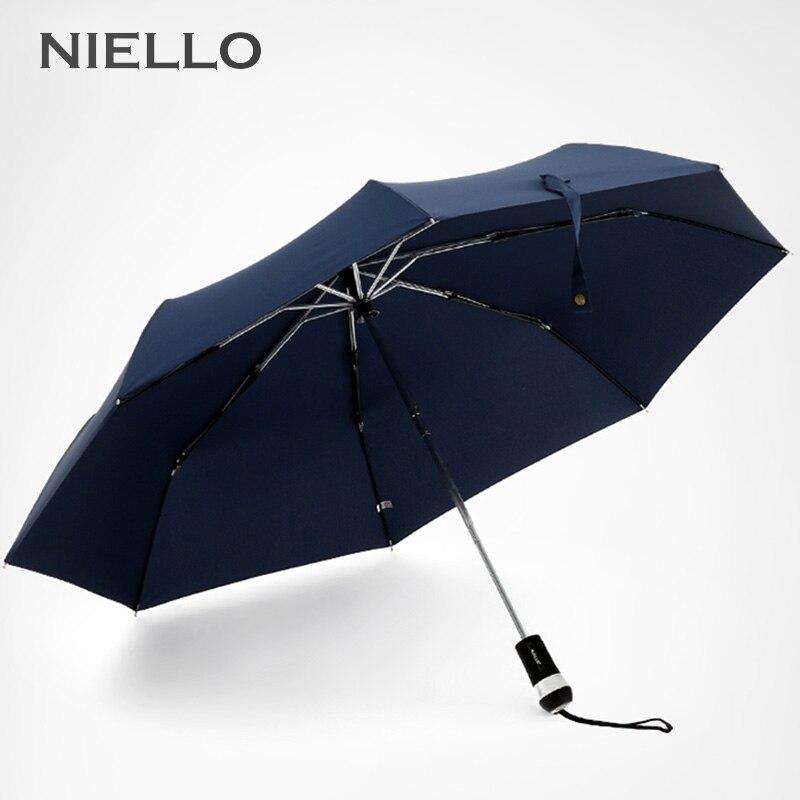 New Arrival LED Light Automatic Umbrella Men Flashlight Handle Brand Three Folding Umbrellas Rain Windproof Paraguas Male