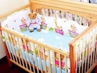 ¡Promoción! Juego de ropa de cama para niñas 6 piezas cuna Bassinette (parachoques + sábana + funda de almohada)