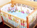 Promotion! 6PCS girls Baby Bedding Sets Crib Cot Bassinette (bumpers+sheet+pillow cover)
