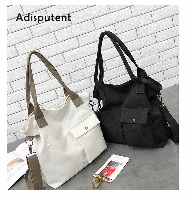 Adisputent Japan And Korean Canvas Bag Large Solid Fabre Handbags Literary Simple Ladies Messenger Bags For Women 2019 Handbags