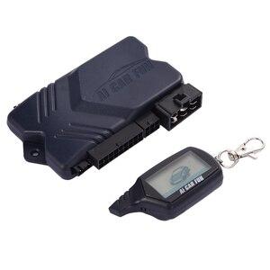 Image 4 - Russische Version Zwei wege Auto Alarmanlage mit Motor Starten LCD Fernbedienung Schlüssel Fob Fall Für B9