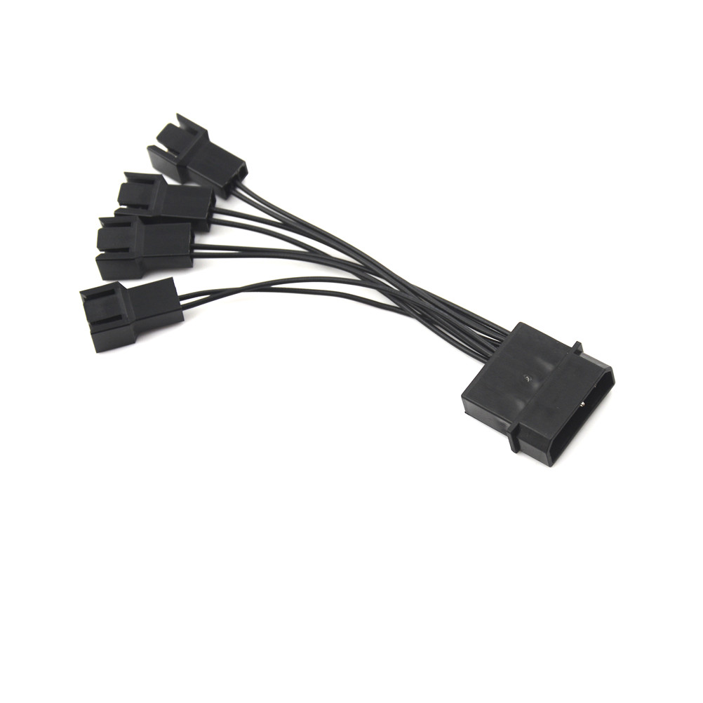 New 12V Black Molex To 4Way 3Pin Computer Power Multi Fan Splitter Adapter Cable