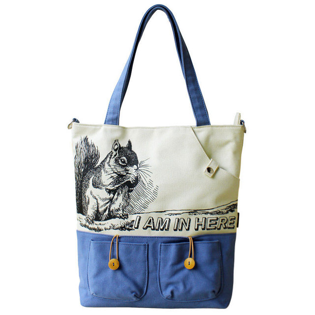New Preppy Style Cute Cartoon Tote Bag Women Fashion Casual Canvas Shoulder Front On