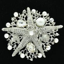 Перл Кристаллов Rhinestone Серебряный Морская Звезда Брошь Pin Женщины Аксессуары Ювелирные Изделия 6412